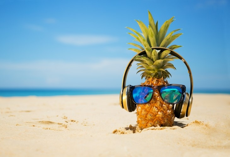 Pineapple listening to music