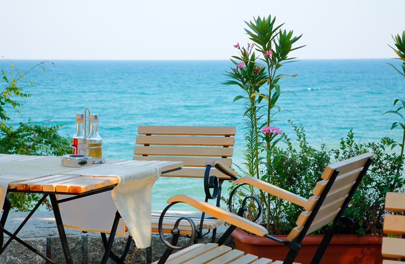 Table overlooking the Black Sea in Bulgaria
