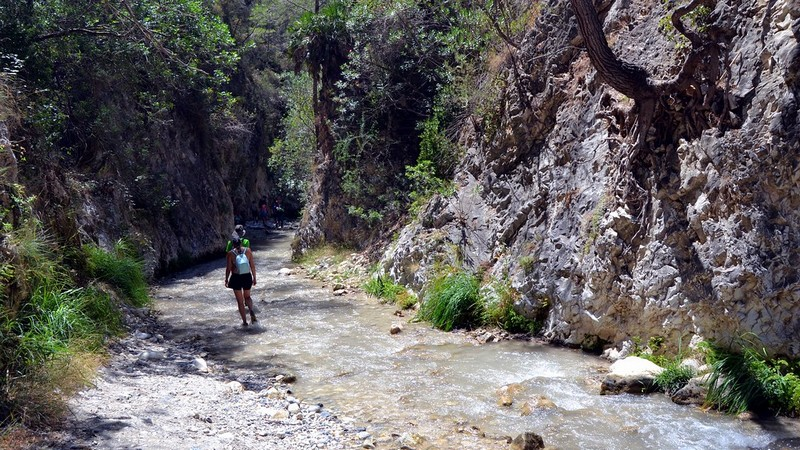 Walking along the Rio Chillar, the river in Nerja