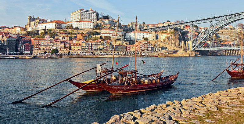 Traditional Boats on the river in Porto Portugal