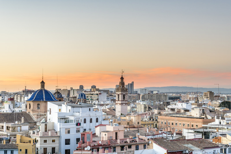 Valencia Spain Sunset Skyline