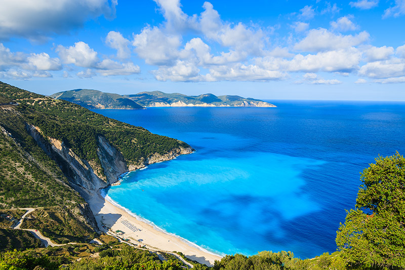View of beautiful Myrtos bay and idyllic beach on Kefalonia island, Greece