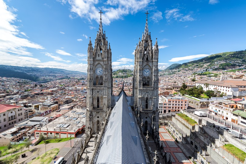 Towers of the Basilica in Quito Ecuador