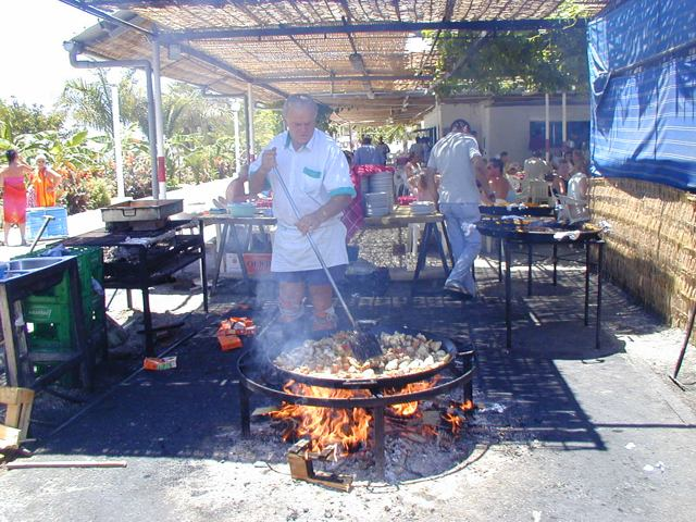 Cooking paella at Ayo chiringuito, Nerja