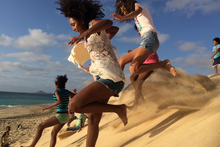 Children playing on the beach in Cape Verde