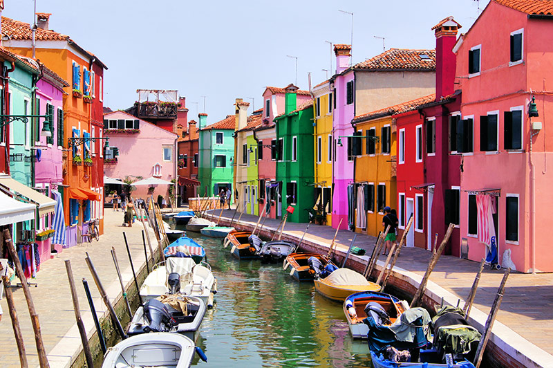 Colourful Italian street in Venice