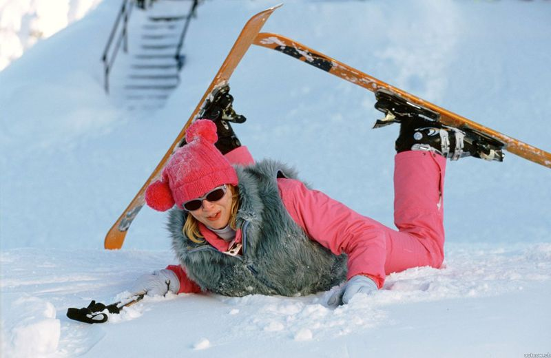 bridget jones learning to ski