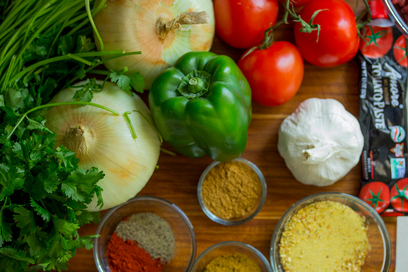 Ingredients for a dish of Greek or Bulgarian food