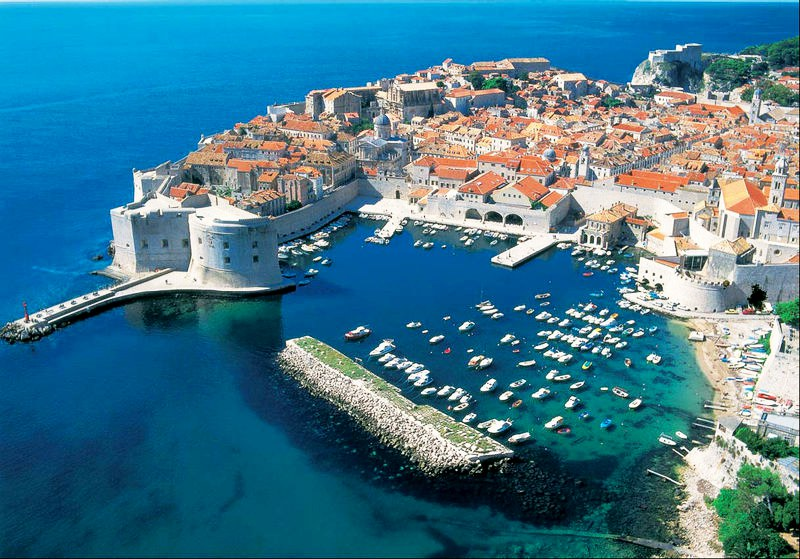 Birds eye view of Dubrovnik in Croatia