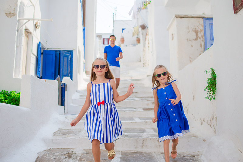 Children on holiday in the Greek Islands