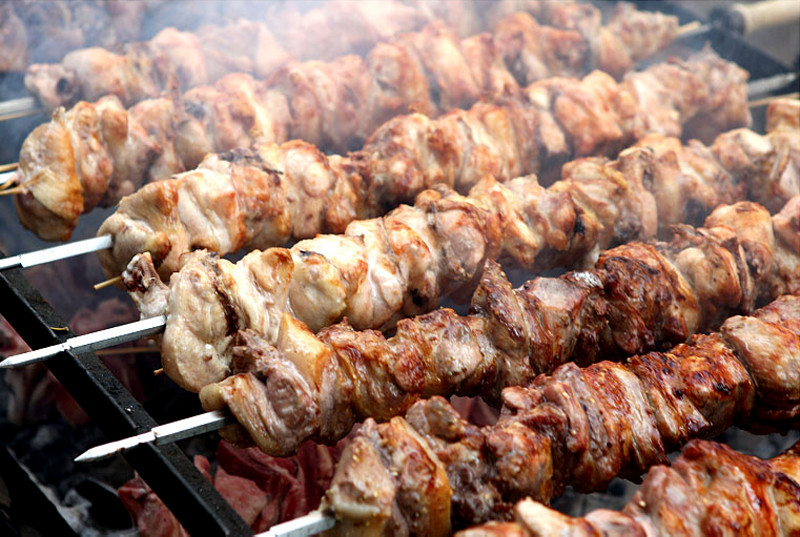 A classic greek souvlakia, greek cuisine