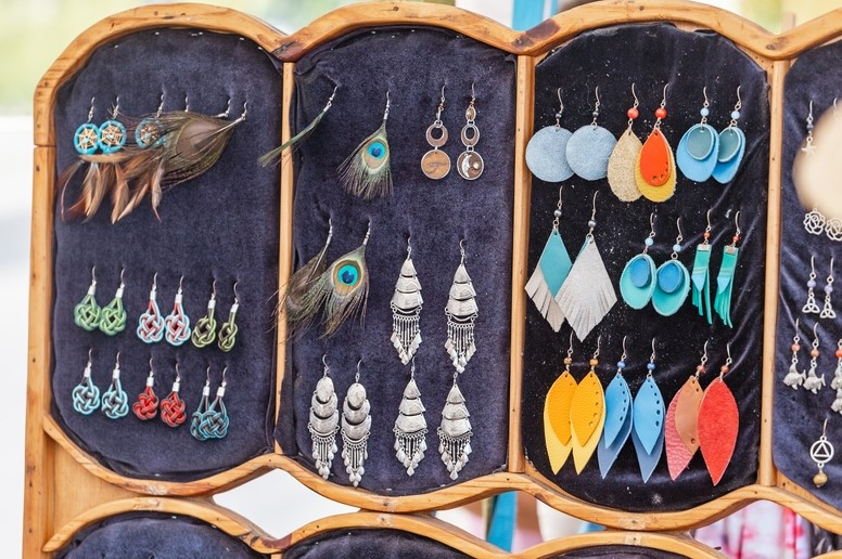 jewellery at a market stall