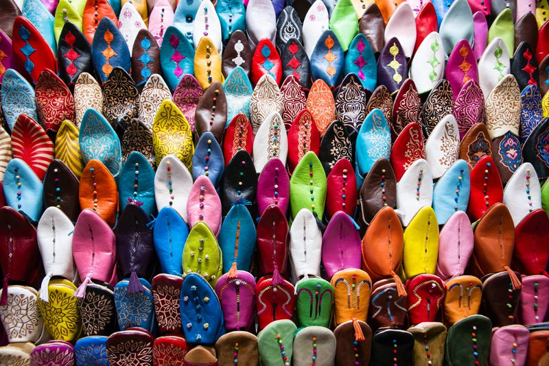 leather slippers Marrakech souks Morocco