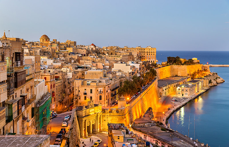 Birds eye view of Valletta in Malta