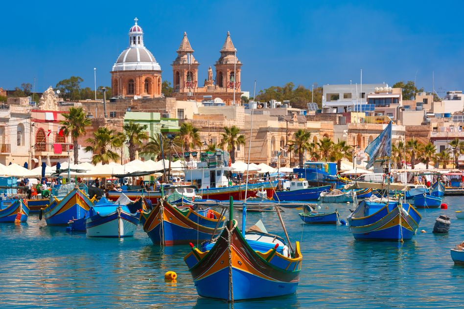 Colourful boats in Marsaxlokk, Malta