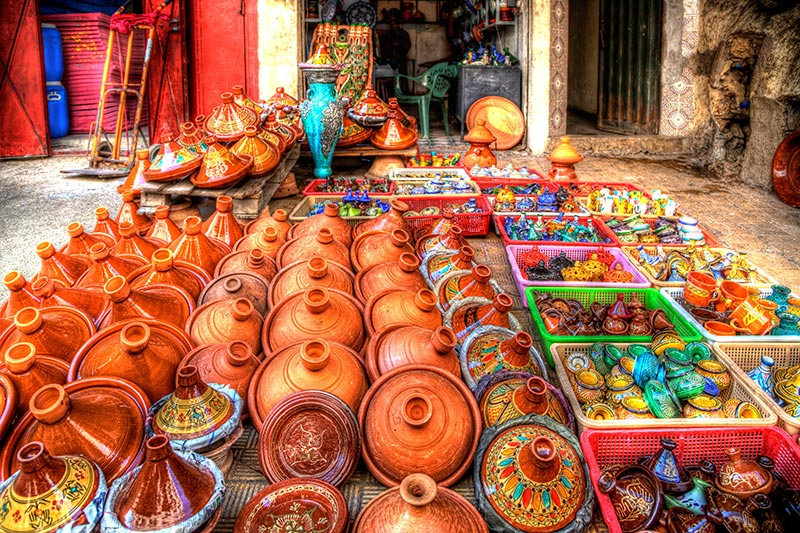 Beautiful pottery in Moroccan Souka