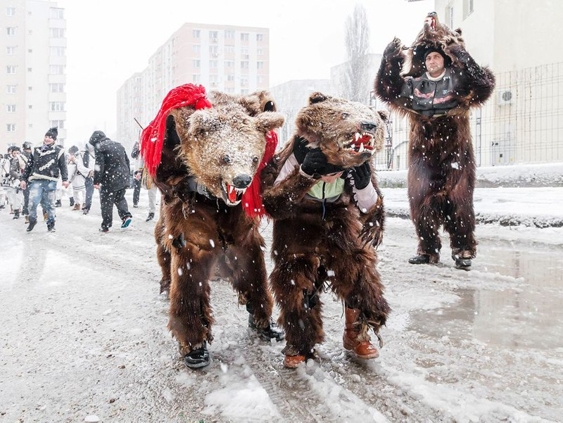 Romania New Year Bear Costume Tradition