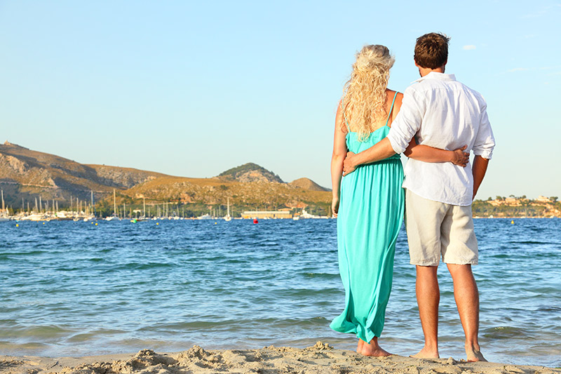 Romantic couple honeymoon in Majorca
