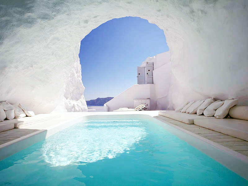 cave, greece, santorini