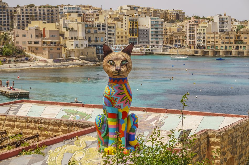 A colourful cat sculpture at the annual arts festival, Malta