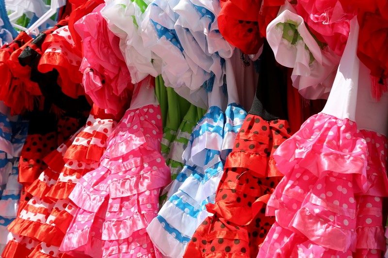 Children's flamenco dresses at a Spanish market