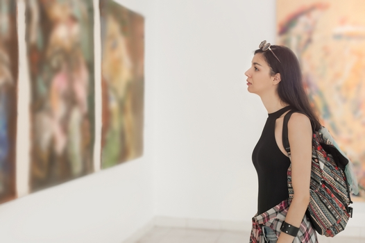 Woman in an art gallery