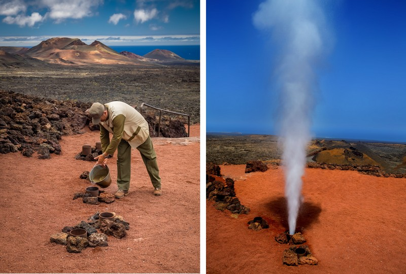 Geyser of steam in Timanfaya National Park, Lanzarote