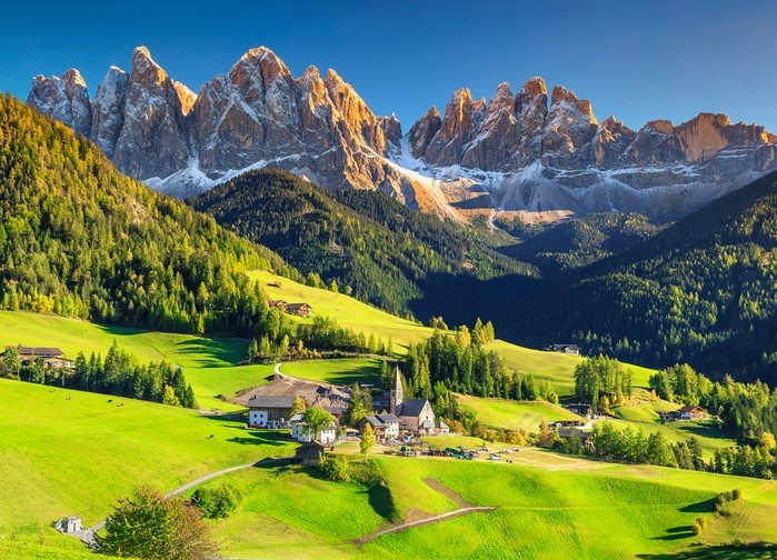 The Dolomites mountain range in the northern Italian alps