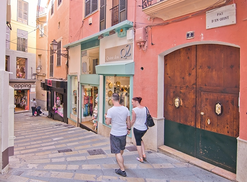 Old Town shopping street in Palma de Mallorca, Balearic islands, Spain