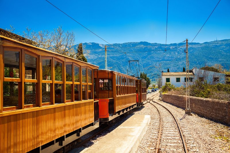 Old fashioned tourist train linking Soller to Palma