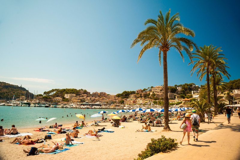 The beach in Port de Soller - north west coast of Majorca