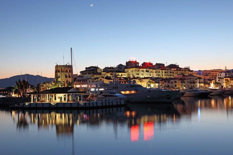 Puerto Banus, Marbella, at dusk