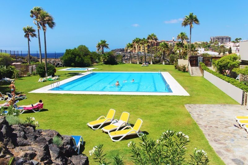 2 bedroom family friendly beach front villa with shared pool in Golf del Sur, Tenerife.