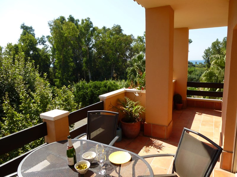 Penthouse apartment in Spain, Carib Playa: Balcony views towards the park and beach as you dine