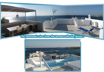 Villa in Greece, Piso Livadi: the magnificent view from the terrace with the jacuzzi ! 1 (🔍+)