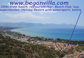 Begonvilla with seaview, sea at 150m, pool, garden, centre 5min