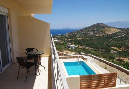 Villa in Kritsa, Crete: Balcony view looking towards Mirabello Bay