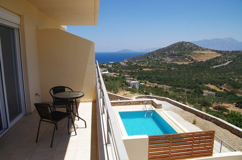 Villa in Greece, Kritsa: Balcony view looking towards Mirabello Bay