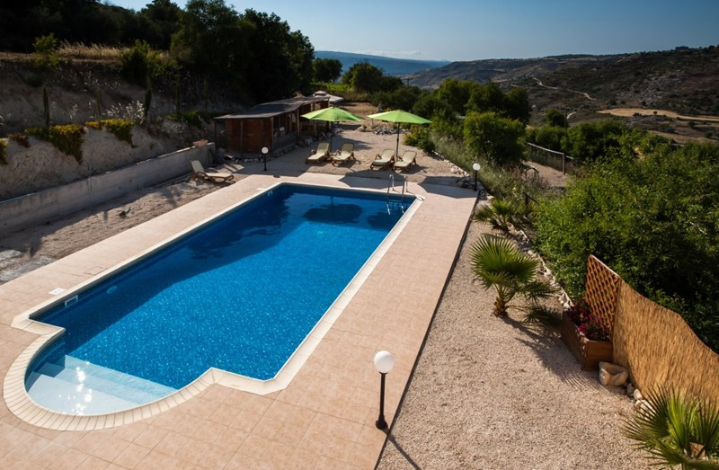 Villa in Cyprus, Polemi: Pool view from upstairs.
