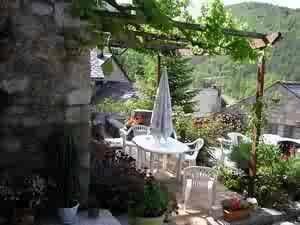 Gite in France, Nant: Our terrace under the vine