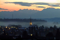 House in Switzerland, Luzern: A wonderful sunrise from the mezzanine level!