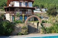 Villa in Turkey, Akyaka: Villa Kale from the pool showing the dramatic mountains behind