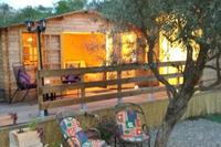 Cabin in Spain, Monda: Showing the casita just as its going dusk. April 2014