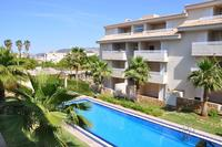 Apartment in Spain, Pego: View of garden and swimming pool from balcony