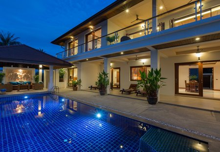 Villa in Bangrak, Koh Samui: Swimming pool at Peerapat Villa, a luxury 4 bedroom spacious & privat..