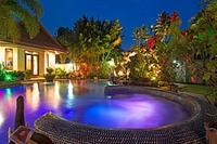Villa in Thailand, Nong Plalai: Romantic Evening View of garden & swimming Pool Relaxing & Private.
