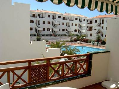 Apartment in Spain, Los Cristianos: view from terrace (canopy lowered)