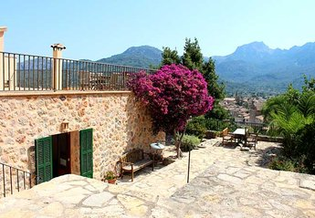 Villa in Spain, Soller: Sun terrace and entrance to bedroom 2 - uninterrupted views of Soller