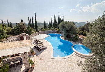 Villa in Montenegro, Lustica Peninsula: Eraci pool, garden and view from the villa.