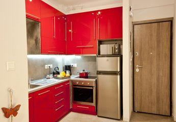 Apartment in Greece, Athens City: Security entrance & kitchen